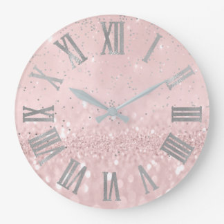 Relógio Grande Brilho cor-de-rosa de prata Cpnfetti Numers romano