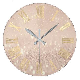 Relógio Grande Brilho cor-de-rosa Numers romano dos confetes do