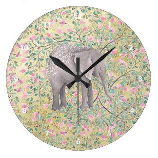 Relógio Grande Brilho do ouro das flores do elefante da aguarela