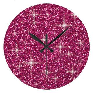 Relógio Grande Brilho iridescente cor-de-rosa