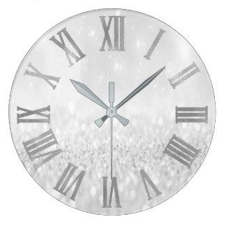 Relógio Grande Brilho Numers romano metálico mínimo do cinza de