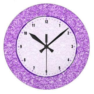 Relógio Grande Brilho roxo da lavanda
