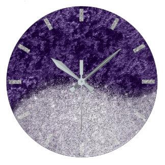 Relógio Grande Brilho roxo violeta da beringela de veludo das