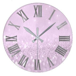 Relógio Grande Brilho violeta Numers romano metálico cinzento de