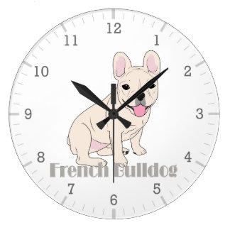 Relógio Grande Buldogues franceses: Buldogue francês branco de