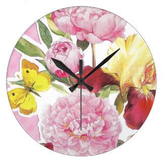Relógio Grande Buquê cor-de-rosa e amarelo floral da íris da
