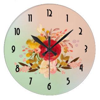 Relógio Grande Buquê floral bonito da aguarela