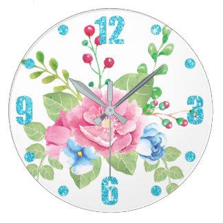 Relógio Grande Buquê floral da aguarela bonito