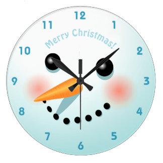 Relógio Grande Cabeça bonito do boneco de neve com mordentes