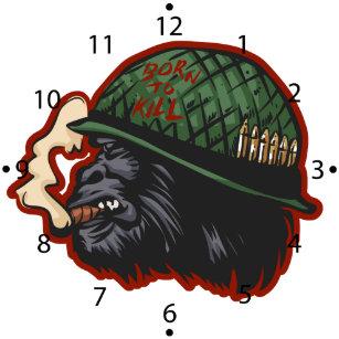 b2852116fa3 Relógio Grande Cabeça do gorila no capacete do soldado com