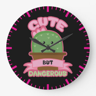 Relógio Grande - Cacto de Kawaii - engraçado bonito mas perigoso