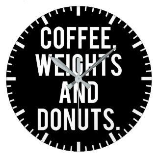 Relógio Grande Café, pesos e rosquinhas - Gym engraçado da