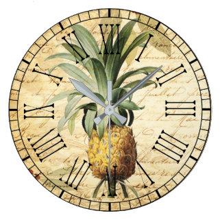 Relógio Grande Caligrafia na moda do vintage da arte do abacaxi