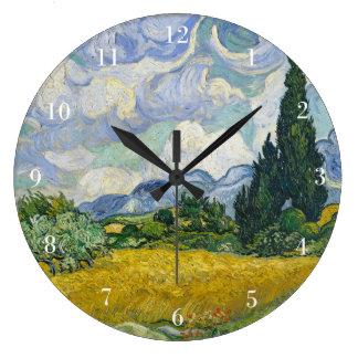 Relógio Grande Campo de trigo de Van Gogh com ciprestes