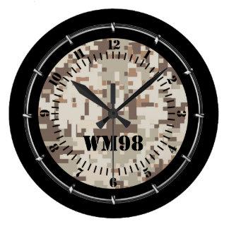 Relógio Grande Camuflagem bege personalizada do deserto em a