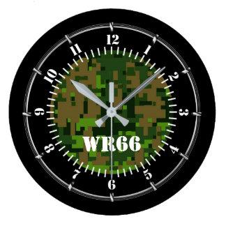 Relógio Grande Camuflagem personalizada do verde da floresta em a