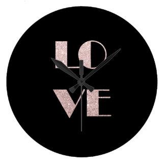 Relógio Grande cancele o texto cor-de-rosa do amor do brilho do