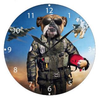 Relógio Grande Cão piloto, buldogue engraçado, buldogue
