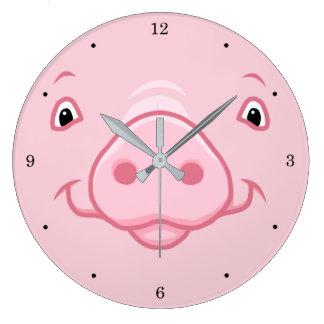 Relógio Grande Cara cor-de-rosa feliz bonito do porco