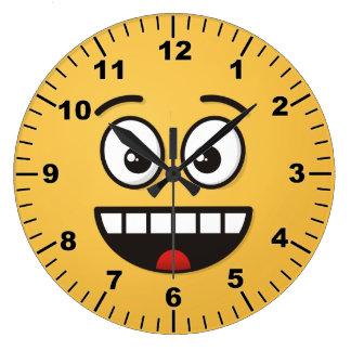 Relógio Grande Cara de sorriso com boca aberta