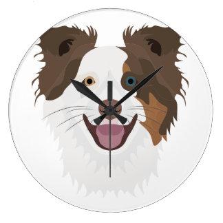 Relógio Grande Cara feliz border collie dos cães da ilustração