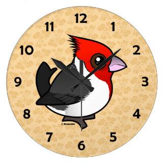 Relógio Grande Cardeal de crista encarnada de Birdorable