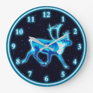 Relógio Grande Caribu azul (rena)