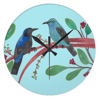 Relógio Grande Casal bonito do pássaro