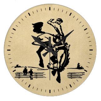 Relógio Grande Cavaleiro Bucking do bronco