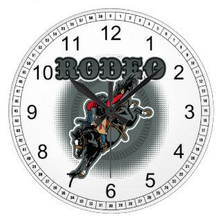 Relógio Grande Cavaleiro em pêlo do Bronc do rodeio