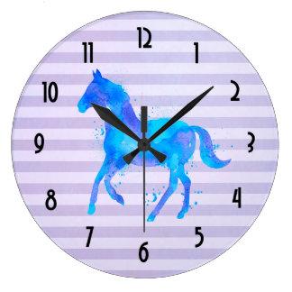 Relógio Grande Cavalo da aguarela em listras horizontais