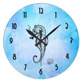 Relógio Grande Cavalo marinho e Seashell na aguarela azul