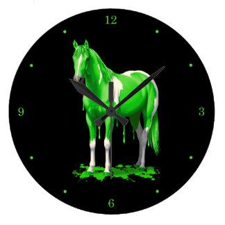 Relógio Grande Cavalo molhado da pintura do gotejamento verde de