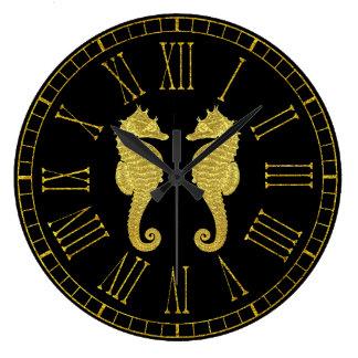 Relógio Grande Cavalos marinhos do ouro sua cor do fundo