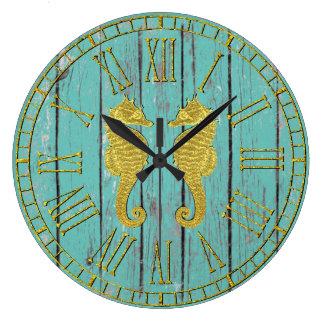 Relógio Grande Cavalos marinhos do ouro sua madeira resistida cor