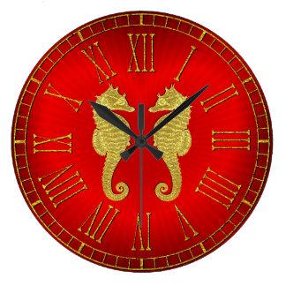Relógio Grande Cavalos marinhos e coração do ouro