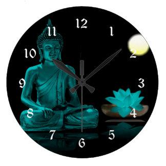 Relógio Grande Cerceta Buddha que Meditating sob a Lua cheia