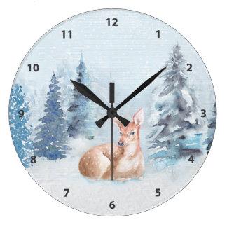 Relógio Grande Cervos chiques da aguarela do inverno na floresta