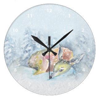 Relógio Grande Cervos do inverno da aguarela na neve