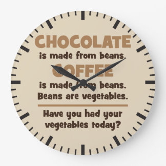 Relógio Grande Chocolate, café, feijões, vegetais - novidade