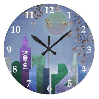 Relógio Grande Cidade geométrica da flor de cerejeira de Sakura