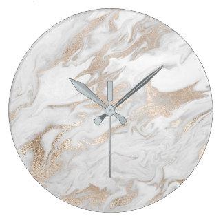 Relógio Grande Cinzas bege de pedra de mármore do creme do marfim