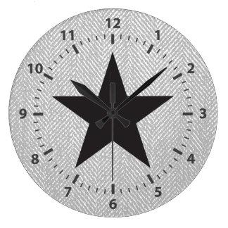 Relógio Grande Cinzas da estrela & Herringbone pretos modernos do