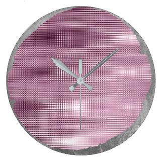 Relógio Grande Cinzas de prata Borgonha do metal nao perfeito do