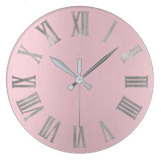 Relógio Grande Cinzas de prata cor-de-rosa Numers romano metálico