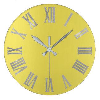 Relógio Grande Cinzas de prata Numers romano metálico de amarelo