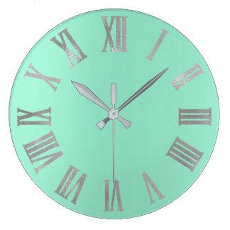 Relógio Grande Cinzas de prata Numers romano metálico Pastel da