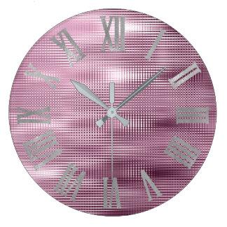 Relógio Grande Cinzas de prata roxas Numers romano metálico