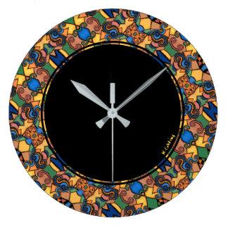 Relógio Grande Círculo abstrato moderno colorido