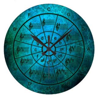 Relógio Grande Círculo da cor do pavão dos quintos para músicos